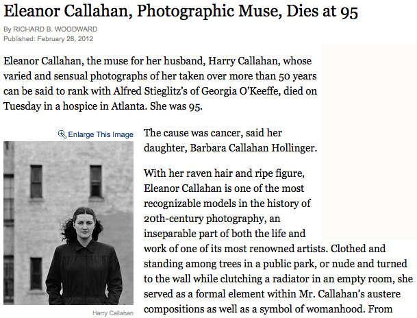Eleanor Callahan's Obituary in the New York Times   Jackson