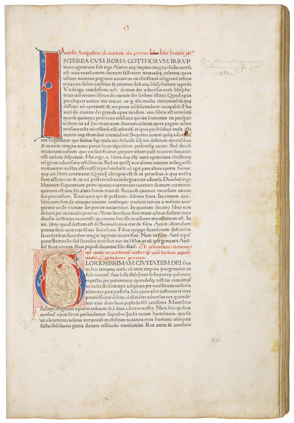 Aurelius Augustinus, De civitate dei. Venice: Johannes and Vindelinus de Spira, 1470. Third or fourth edition of Augustine's most important work, the first printed in Venice.