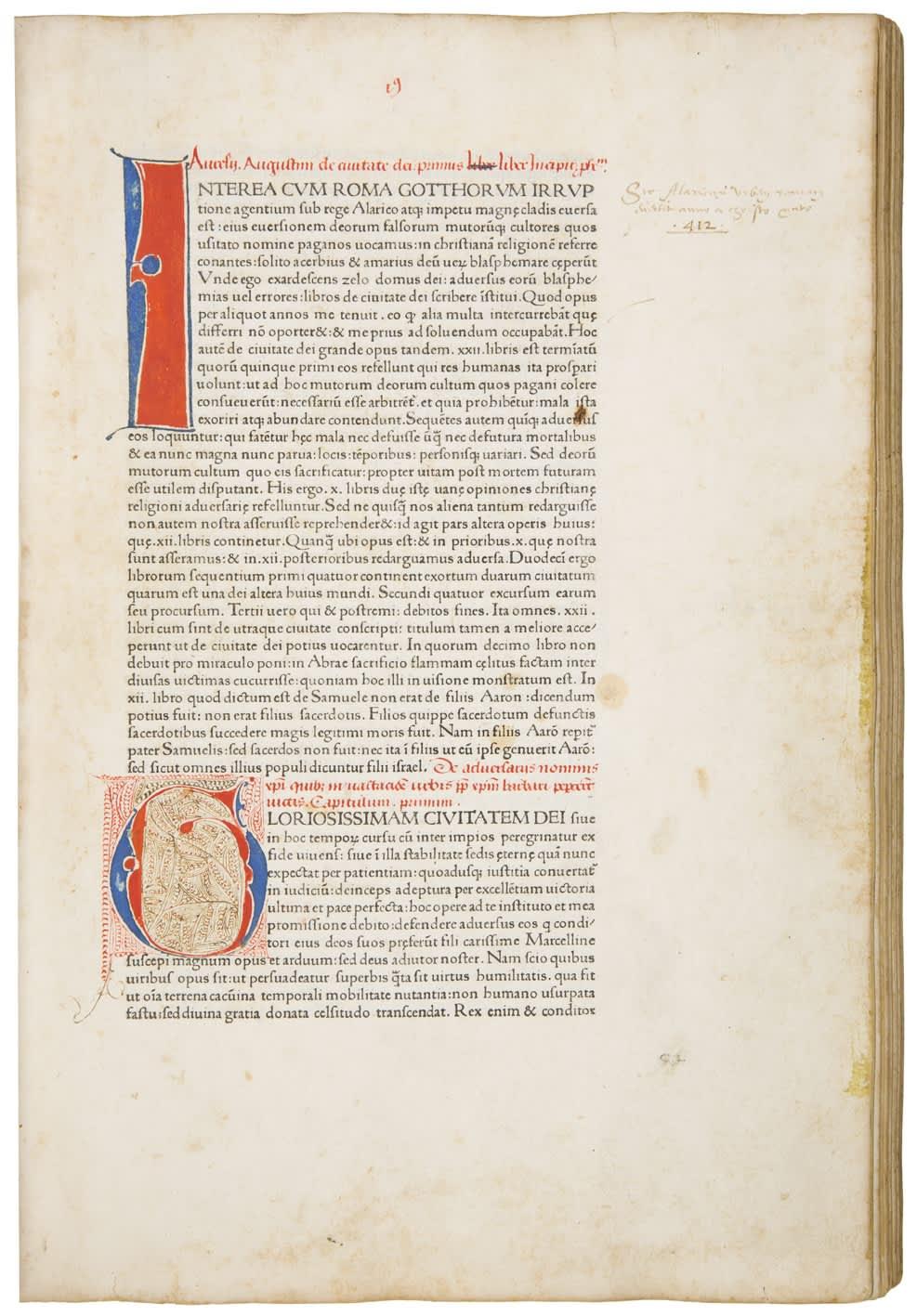 Aurelius Augustinus, De civitate dei. Venice: Johannes and Vindelinus de Spira, 1470. Third or fourth edition of Augustine's most important work, the first printed in Venice.