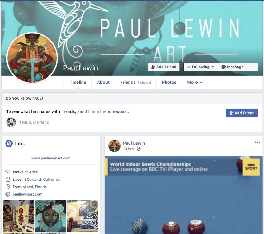 Paul Lewin Facebook front page