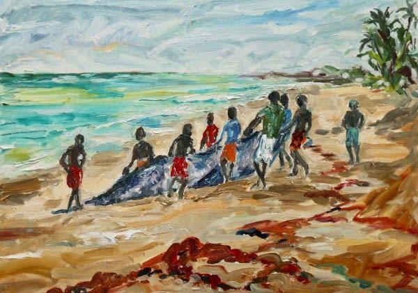 Nets near Galle, oil on canvas board, 50 x 70 cms