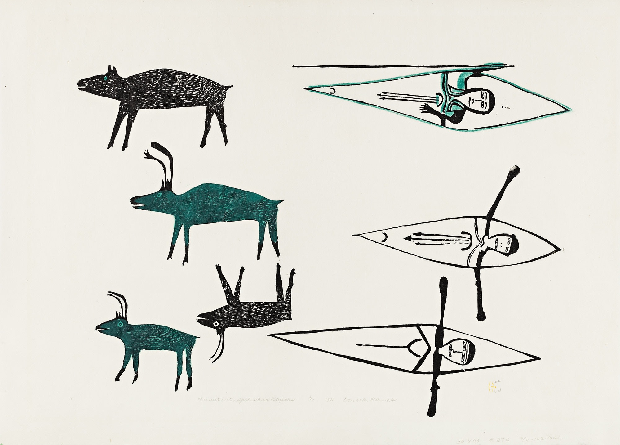 Lot 45, Jessie Oonark, Pursuit with Spears and Kayak, 1971