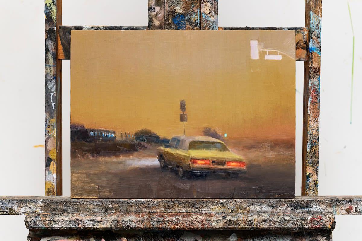 Detail shot of Kim Cogan's paintings