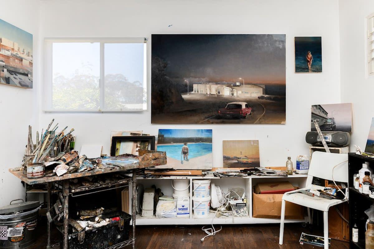 Kim Cogan's Studio with Paintings