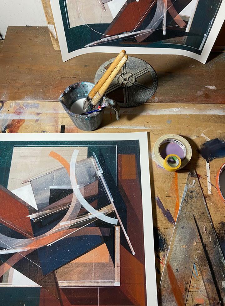 Augustine Kofie hand embellishing Pyledriver prints