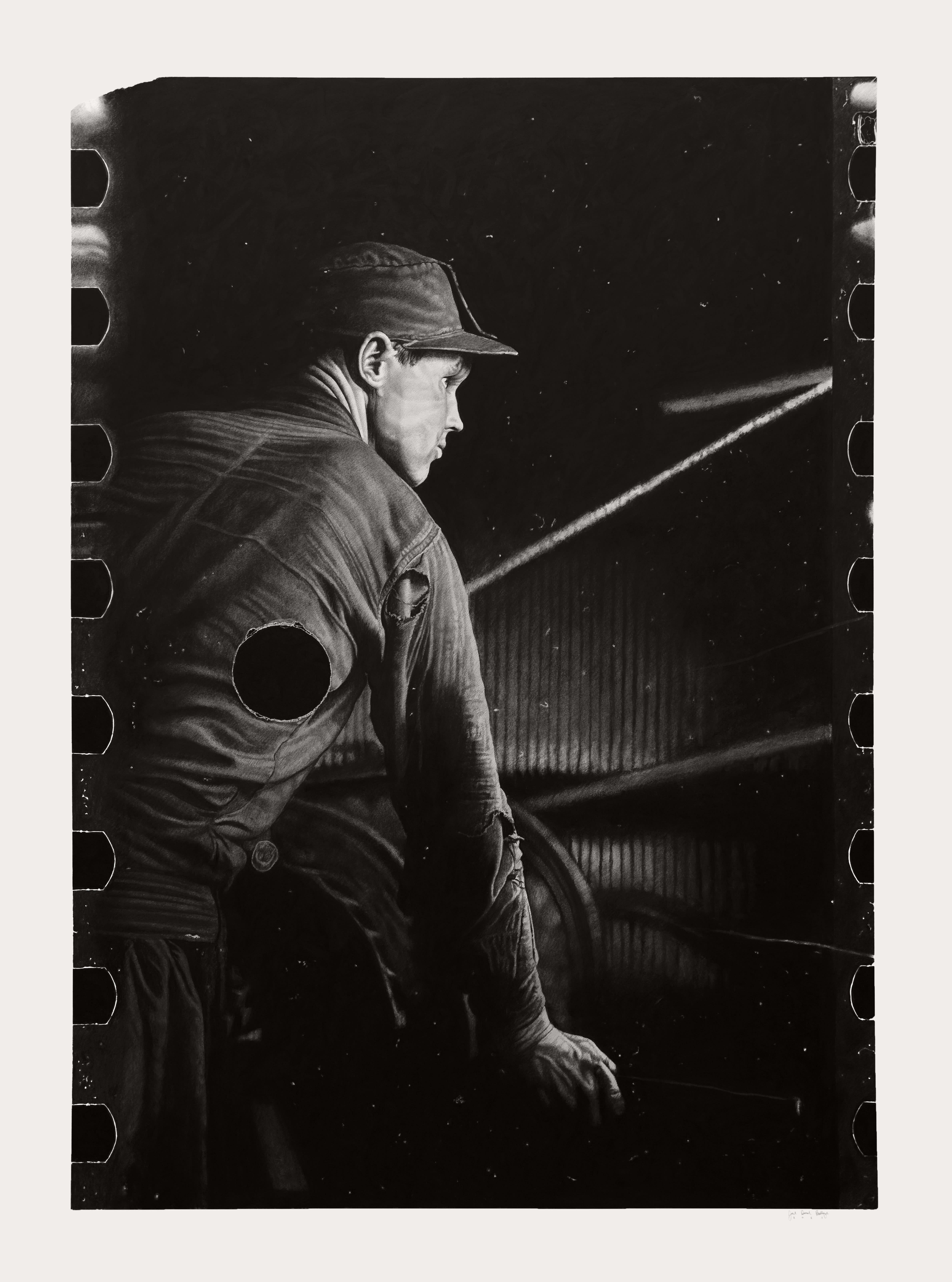 Joel Daniel Phillips graphite drawing of man in darkness