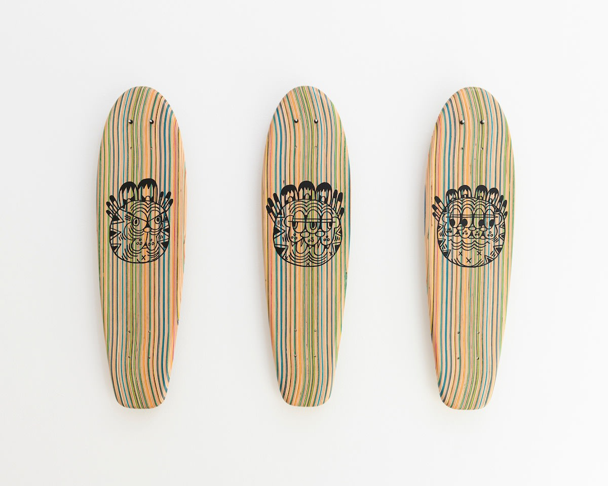 gallery view of Ferris Plocks artwork including Garfield Skatboards