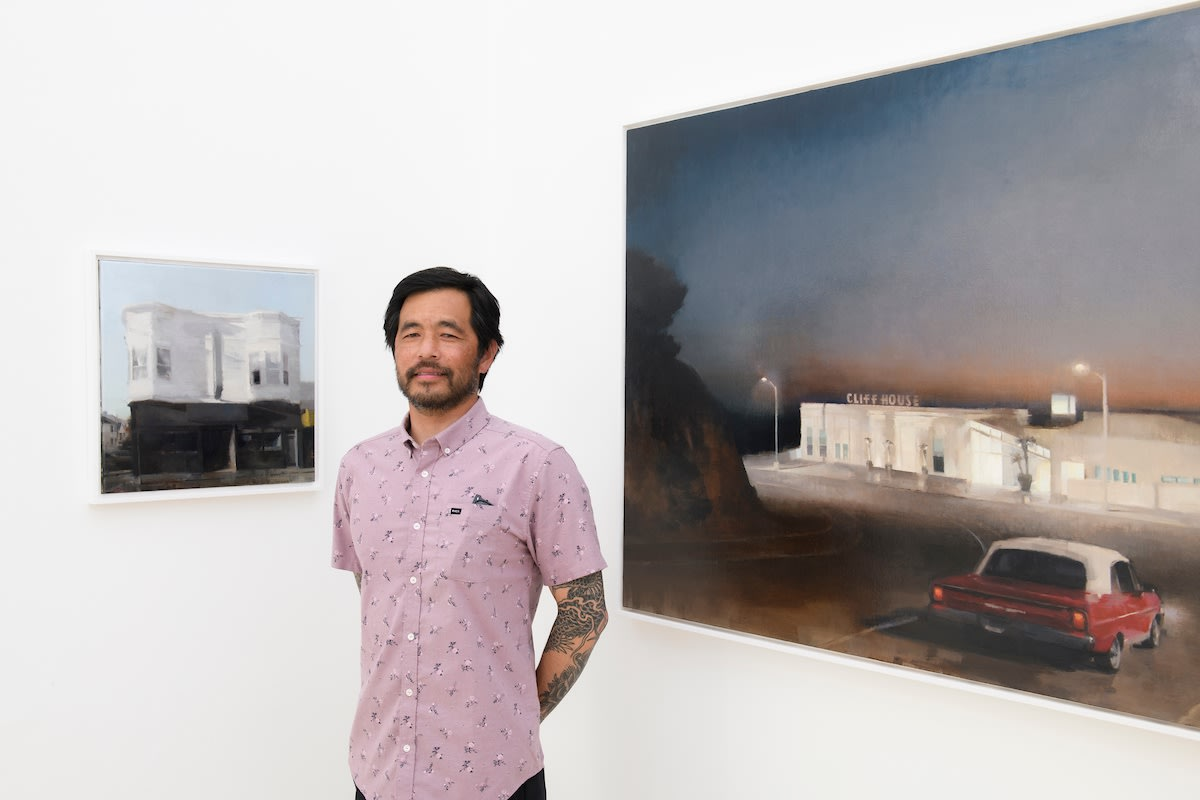 Kim Cogan in front of his works at Hashimoto Contemporay SF