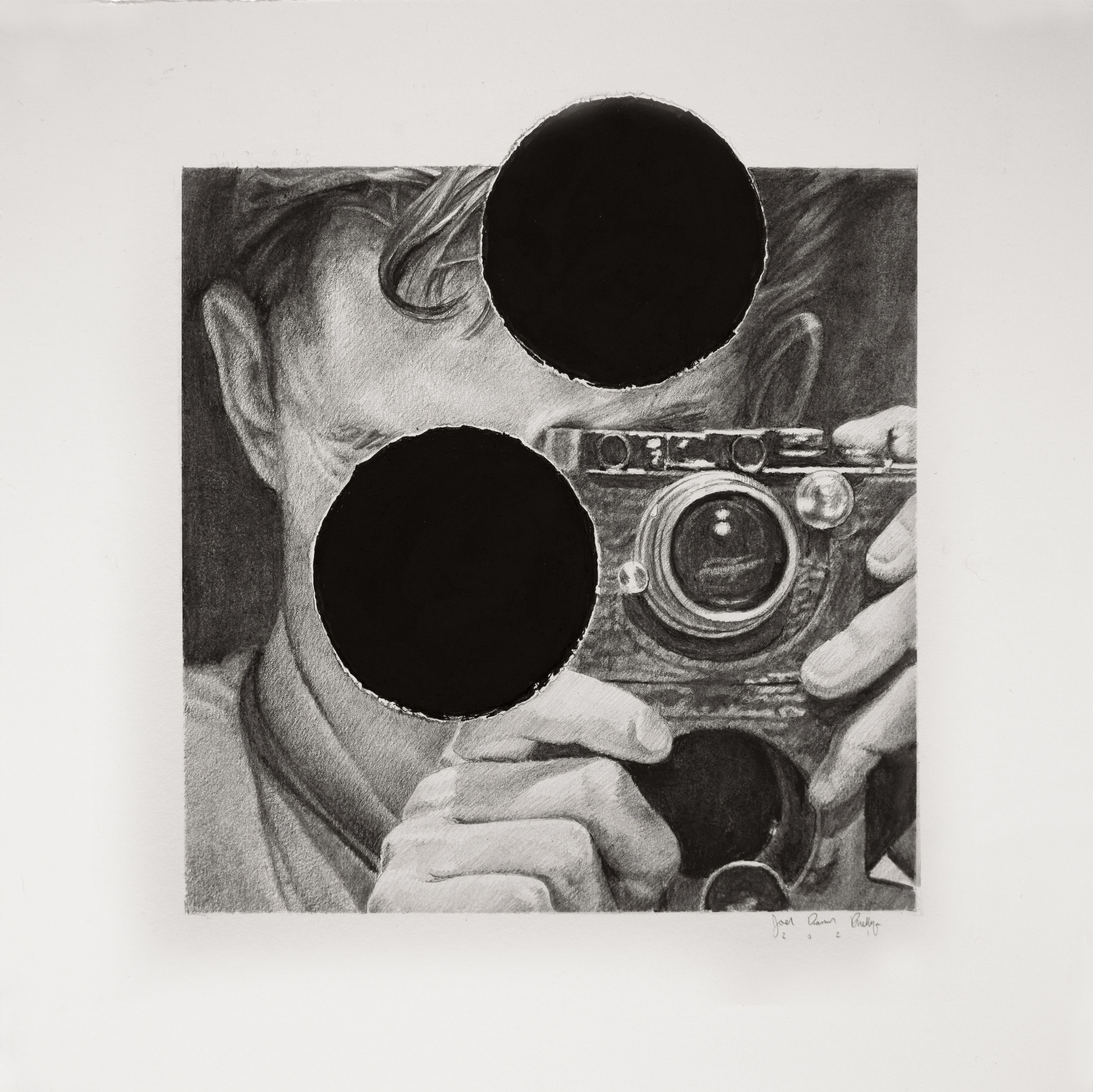 Joel Daniel Phillips graphite drawing of man with camera obscured with hole punch