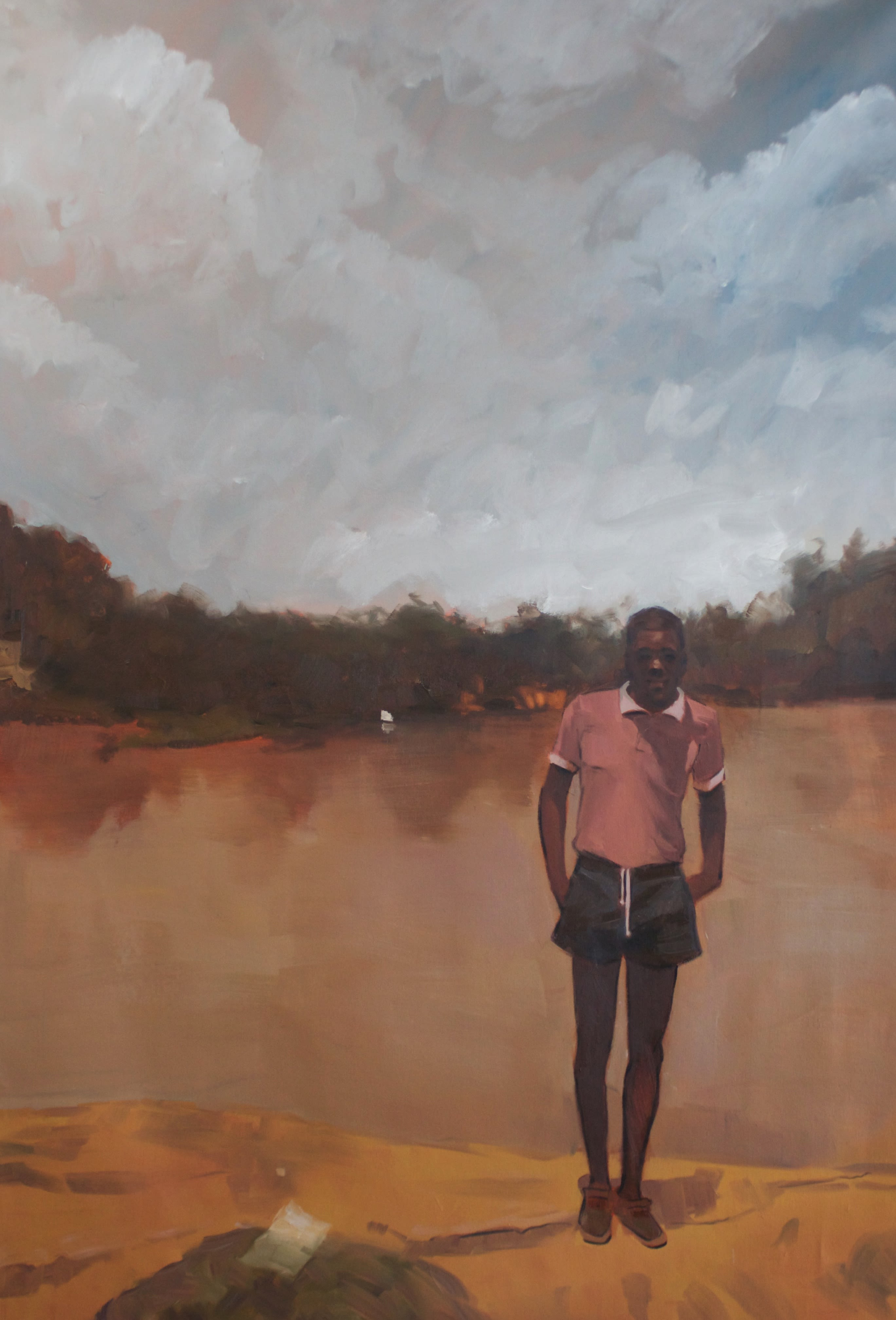 Artwork by Riley Holloway showing a young African American man or boy in front of a sabulous landscape.