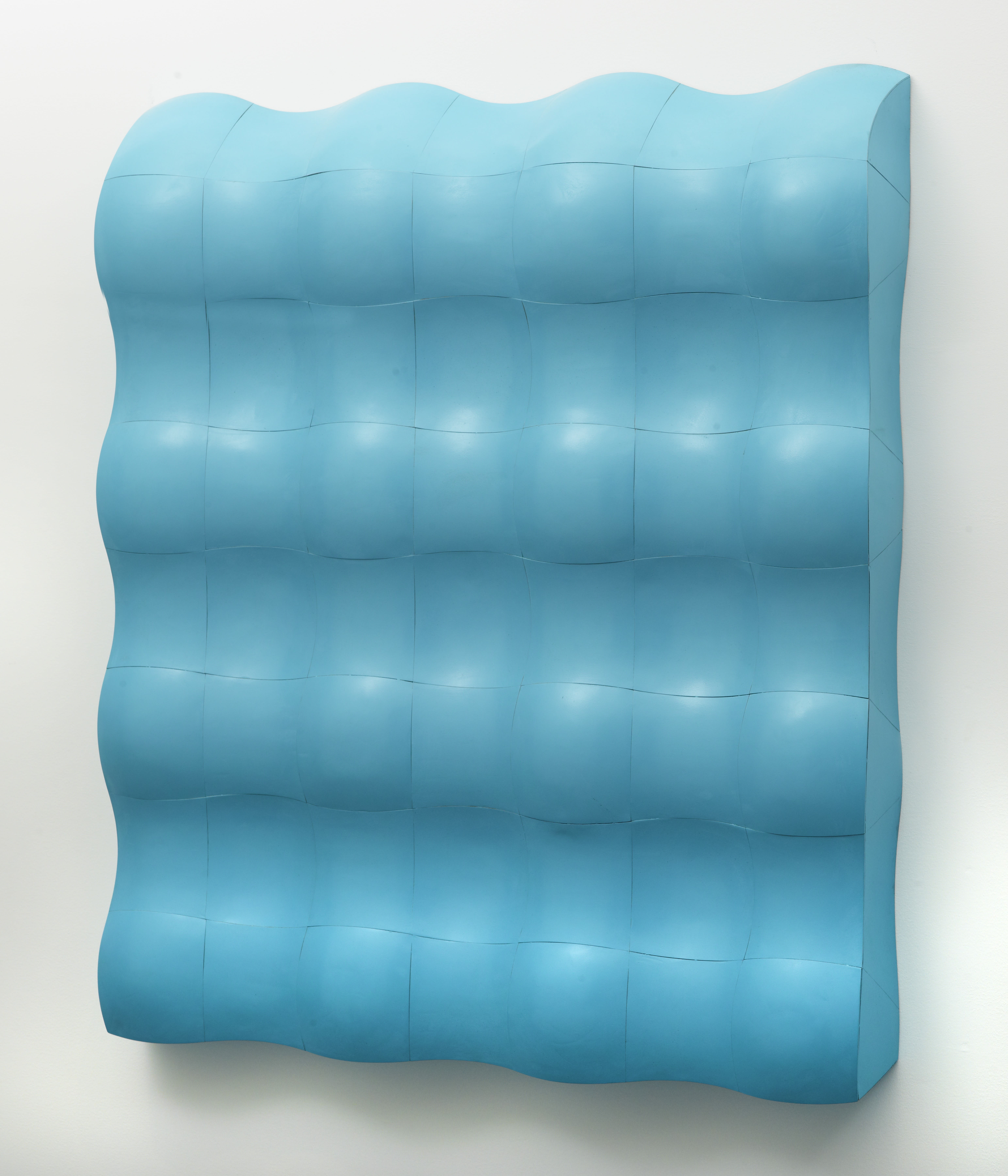 Hoss Haley, Large Tessellation (Cyan), steel, automotive paint, 48 x 43-1/2 x 5-1/2 inches
