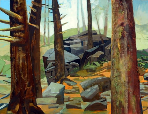 Mariella Bisson, Trees, Morning Mist, Smoky Mountains, Oil and mixed media on linen 38 x 50 x 2 inches