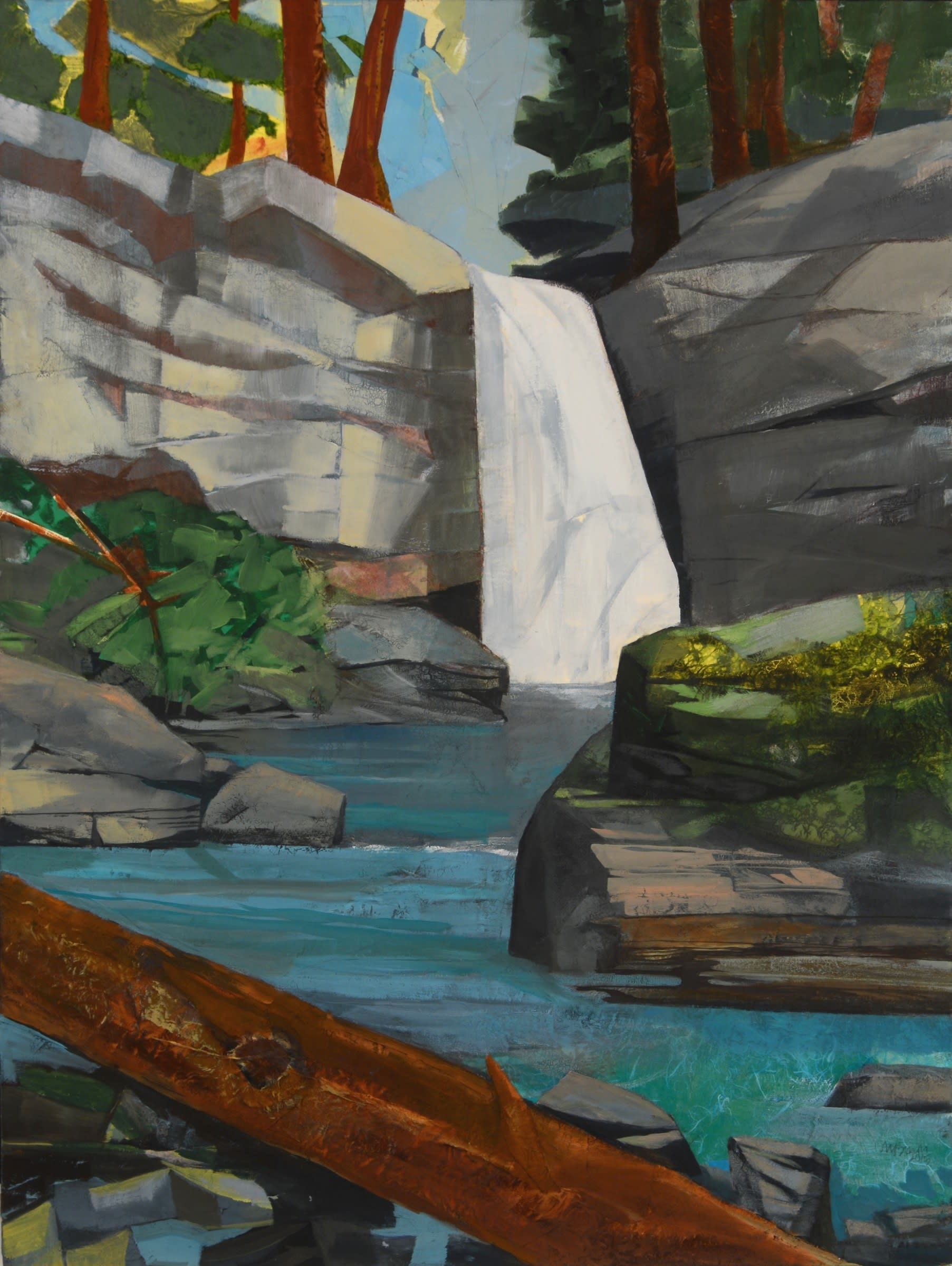 Mariella Bisson, Waterfall, Time and the Forest, Oil and mixed media on linen 40 x 30 x 2 inches