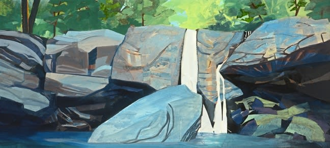 Mariella Bisson, Waterfall Panorama, Mixed media on linen, 34 x 74 x 2 inches