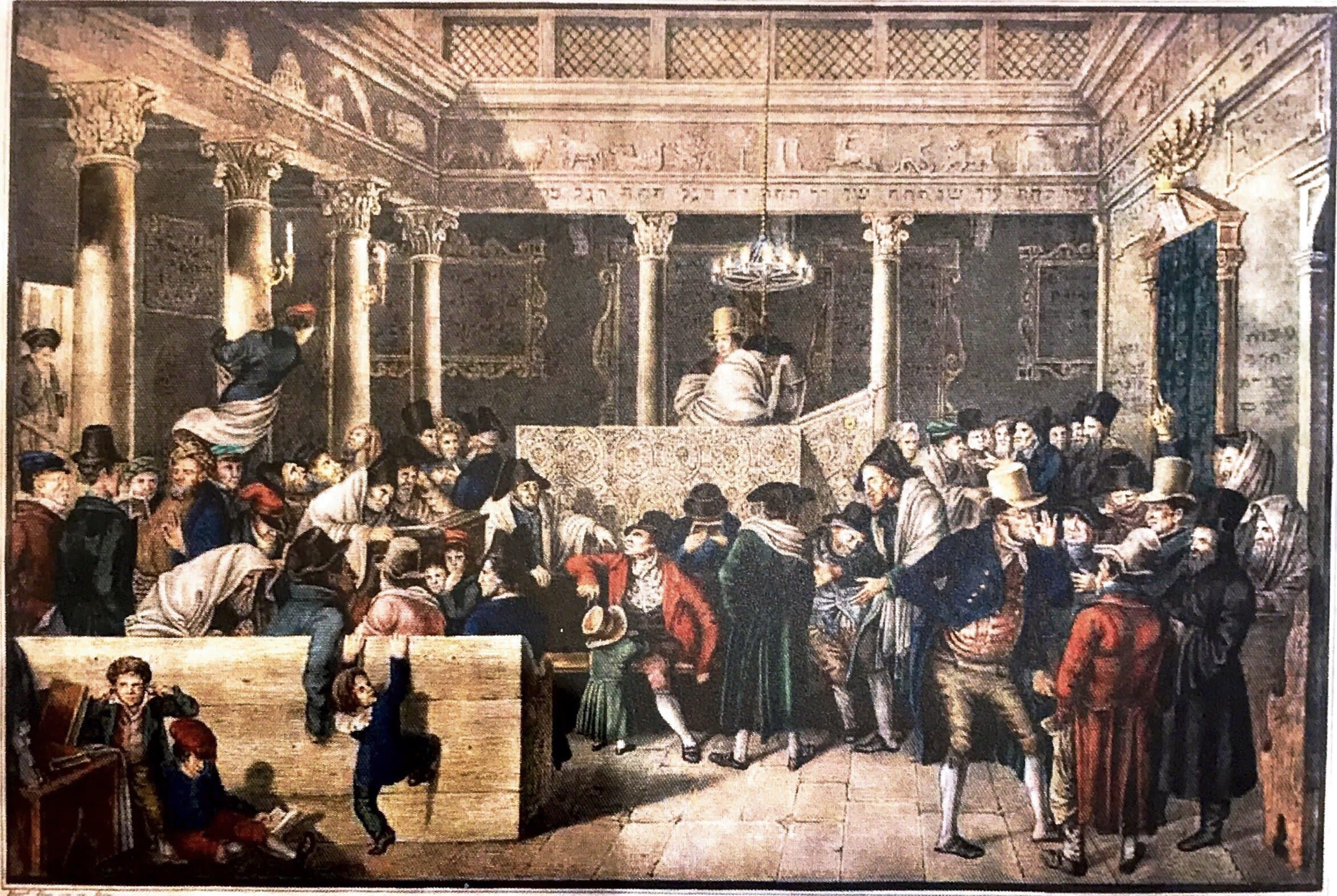 H.Hess, Interno di Sinagoga a Roma