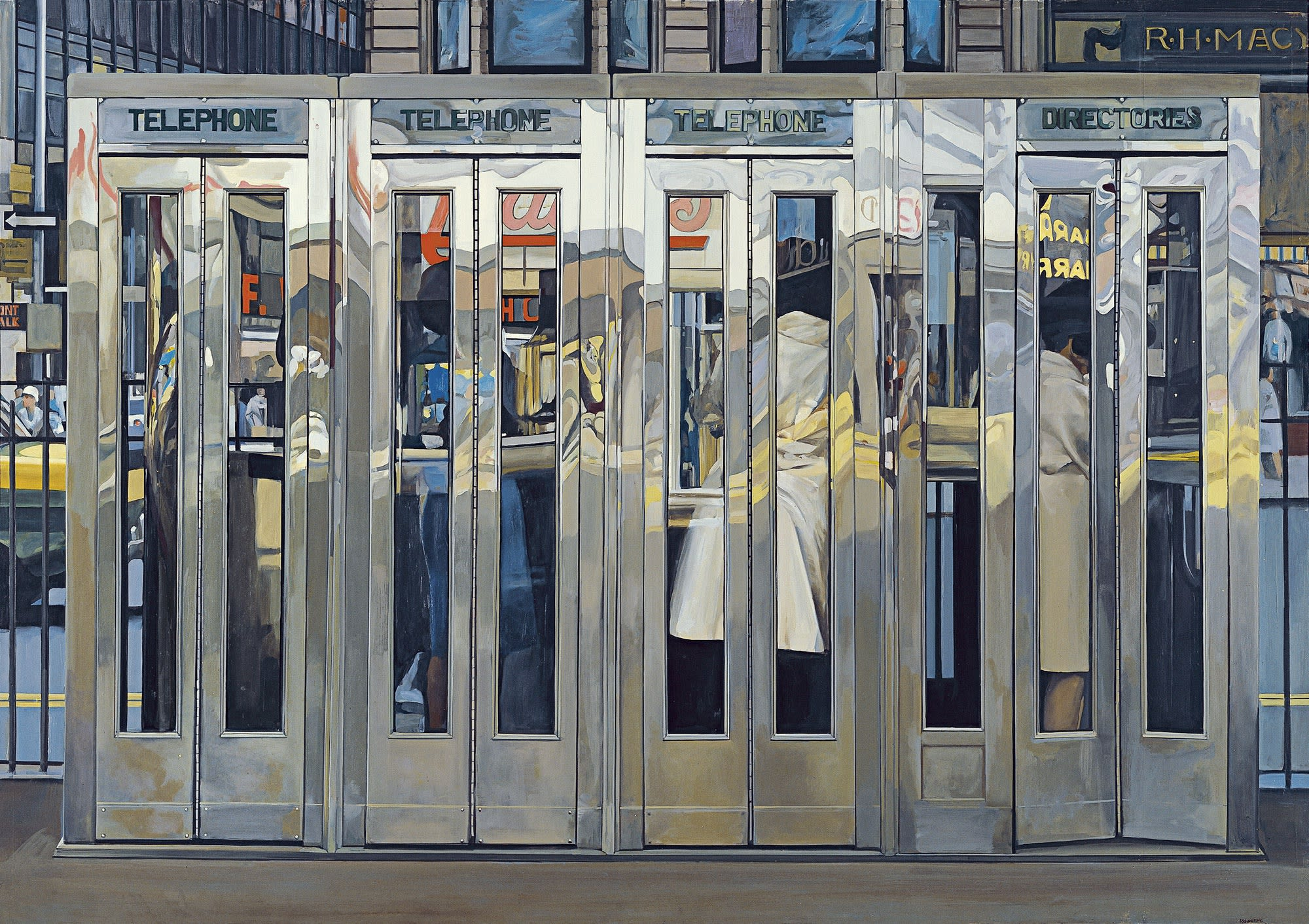 Richard Estes, Telephone Booths. 1968. On display at Museo Thyssen-Bornemisza, Madrid.