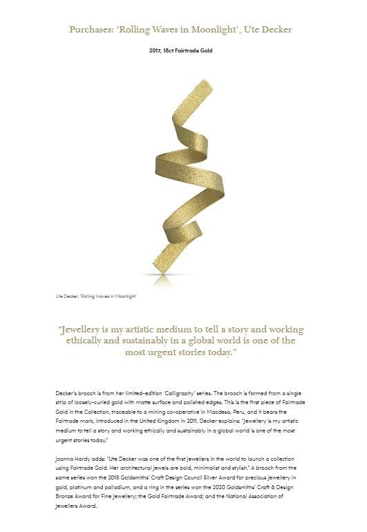 screenshot of Fairtrade Gold sculptural brooch by Ute Decker featured in Goldsmiths' exhibition