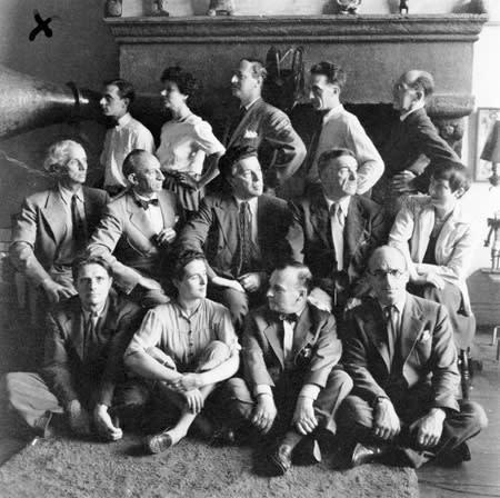 Artists in Exile group photo, New York, 1942. Left to right, first row: Stanley William Hayter, Leonora Carrington, Frederick Kiesler, Kurt Seligmann; second row: Max Ernst, Amédée Ozenfant, André Breton, Fernand Léger, Berenice Abbott; third row: Jimmy Ernst, Peggy Guggenheim, John Ferren, Marcel Duchamp, Piet Mondrian.