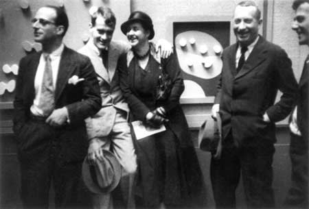 Left to right: Kurt Seligmann, Serge Brignoni, Sophie Taeuber-Arp, Jean Arp, and an unidentified person, at Kunsthalle, Bern, August 1932. Kurt and Arlette Seligmann Papers, The Yale Collection of American Literature, Beinecke Rare Book and Manuscript Library, Yale University, New Haven, Connecticut.