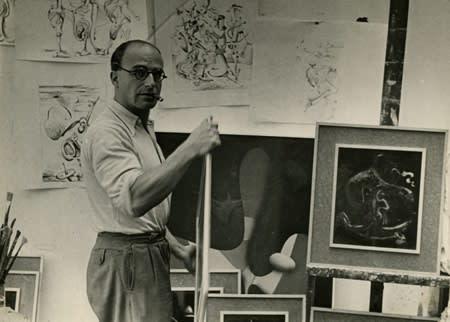 Kurt Seligmann in his studio at the Villa Seurat, c. 1936-37.