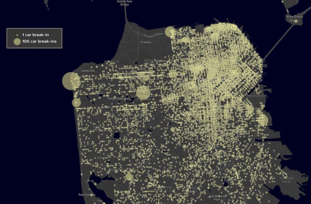 Car break-ins map in SF