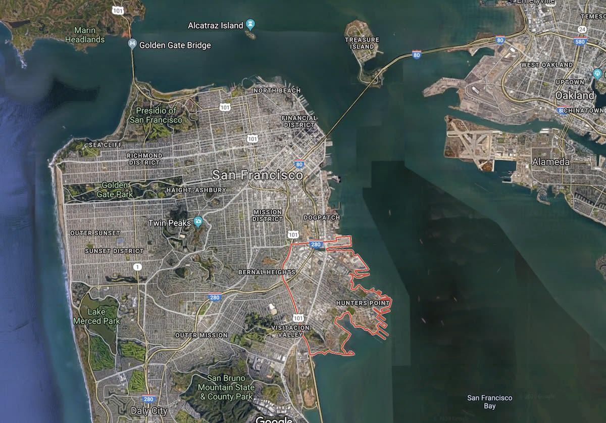 Hunters Point San Francisco, Google Map