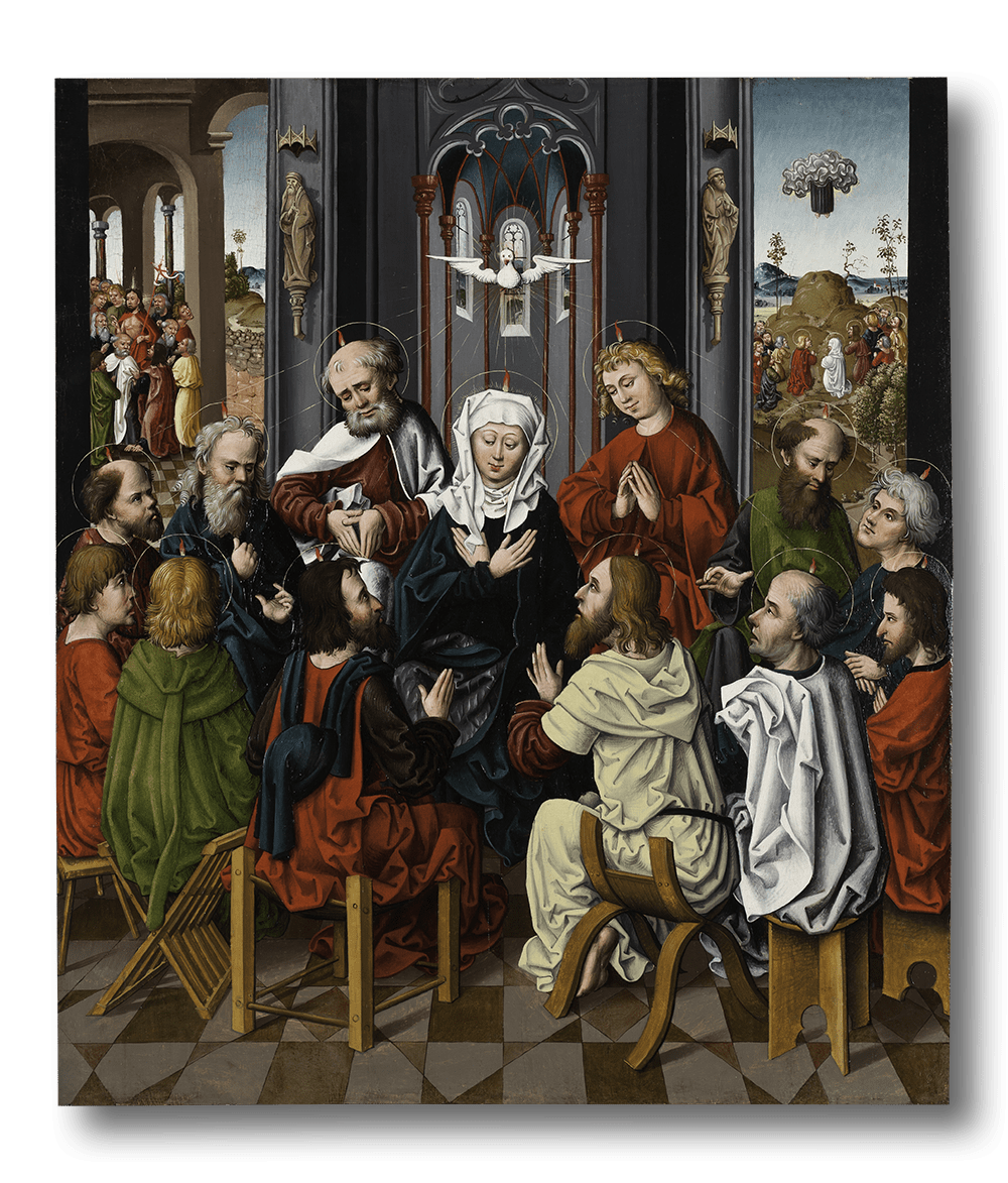 "<span class=""artist""><strong>Master of the Regensburg Hostienfrevel</strong></span>, <span class=""title""><em>The Pentecost</em>, c. 1480</span>"
