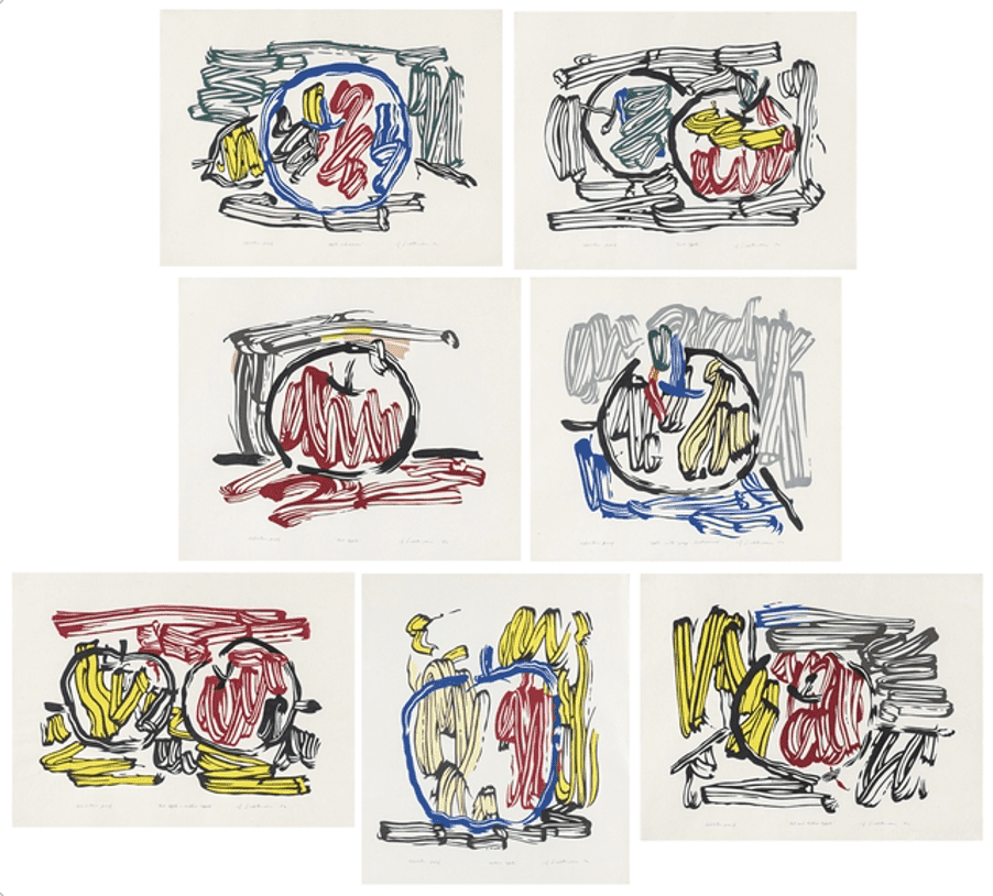 Roy Lichtenstein, Seven Apple Complete Exhibition Portfolio, 1982-1983