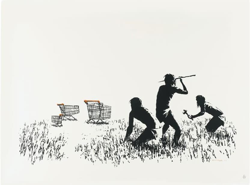 Banksy, Trolley Hunters B&W, 2006
