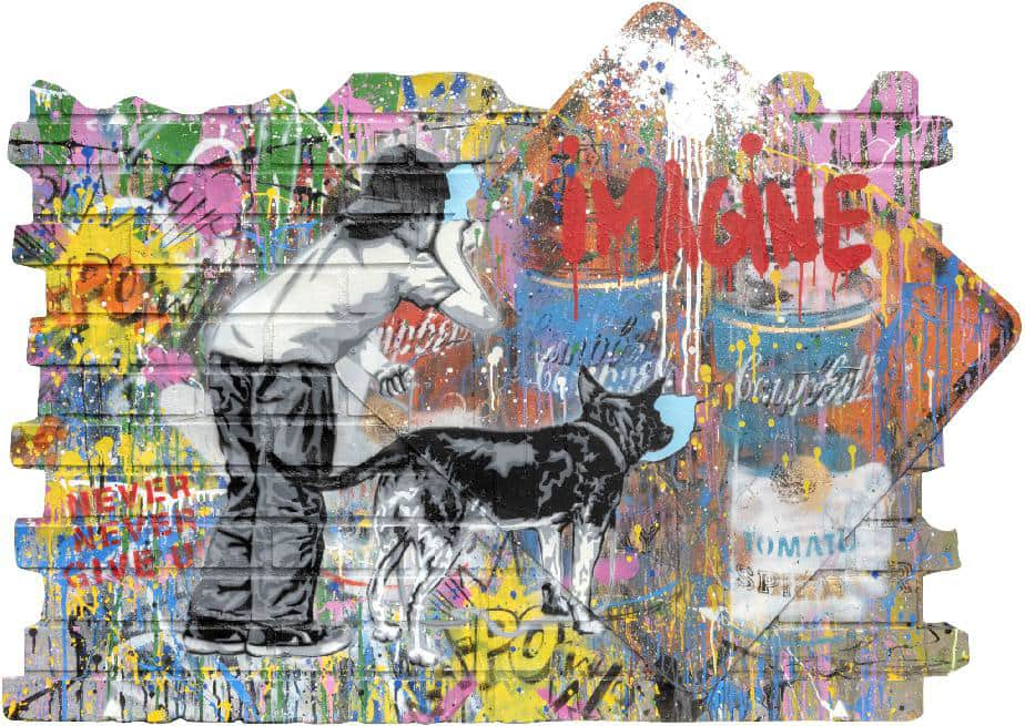 Mr Brainwash Imagine Silkscreen and Mixed Media on Fibreglass Brick Wall and Street Signs