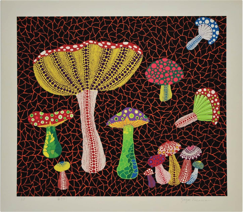 Yayoi Kusama Toadstools Screenprint on Izumi Paper