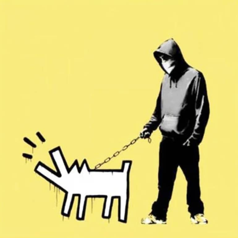 Banksy, Choose Your Weapon - soft yellow , 2010