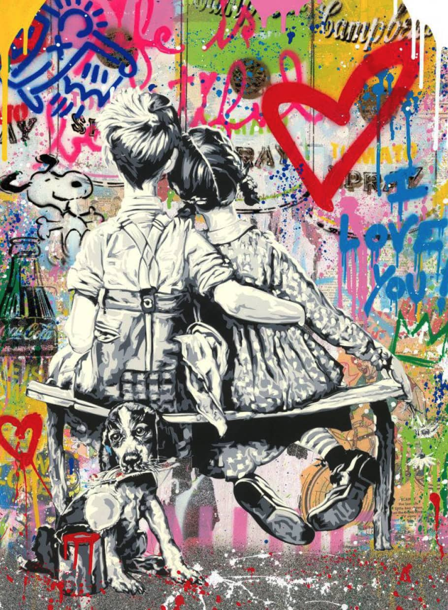 Mr Brainwash Work Well Together Silkscreen and Mixed Media on Paper