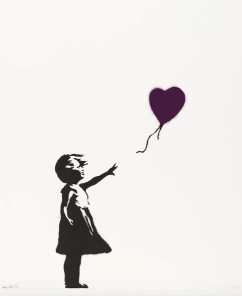 Banksy, Girl With Balloon (Purple) AP, Signed, 2004