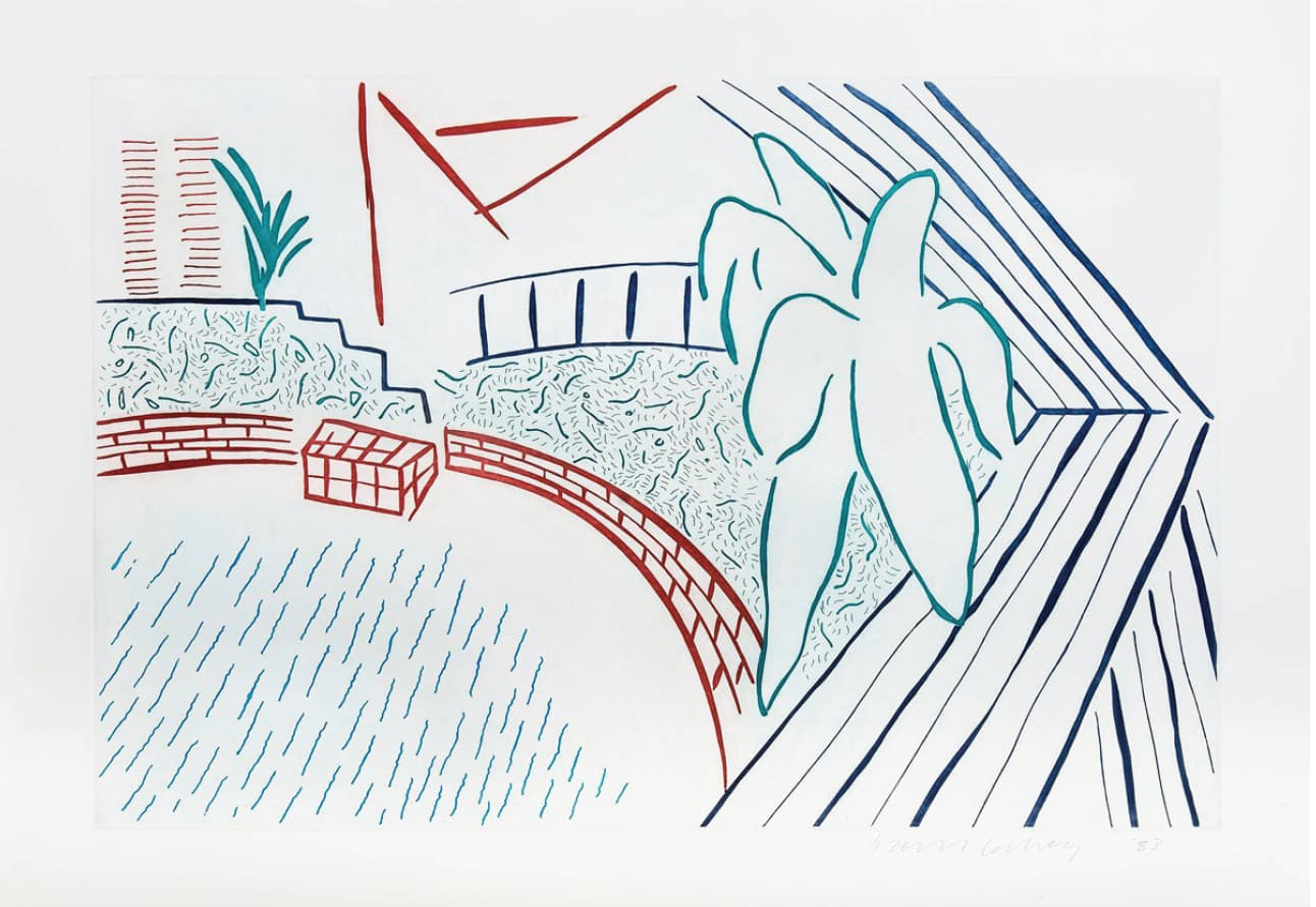 David Hockney My Pool and Terrace Colour Etching