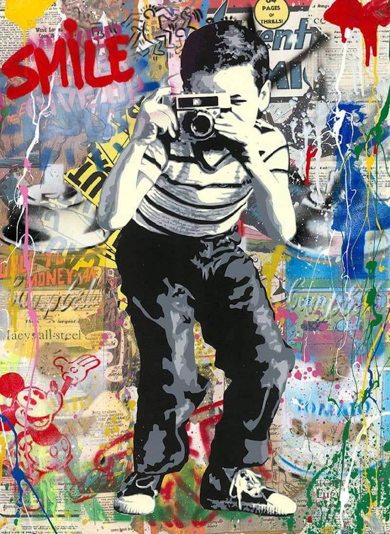 Mr Brainwash Smile Silkscreen and Mixed Media on Paper