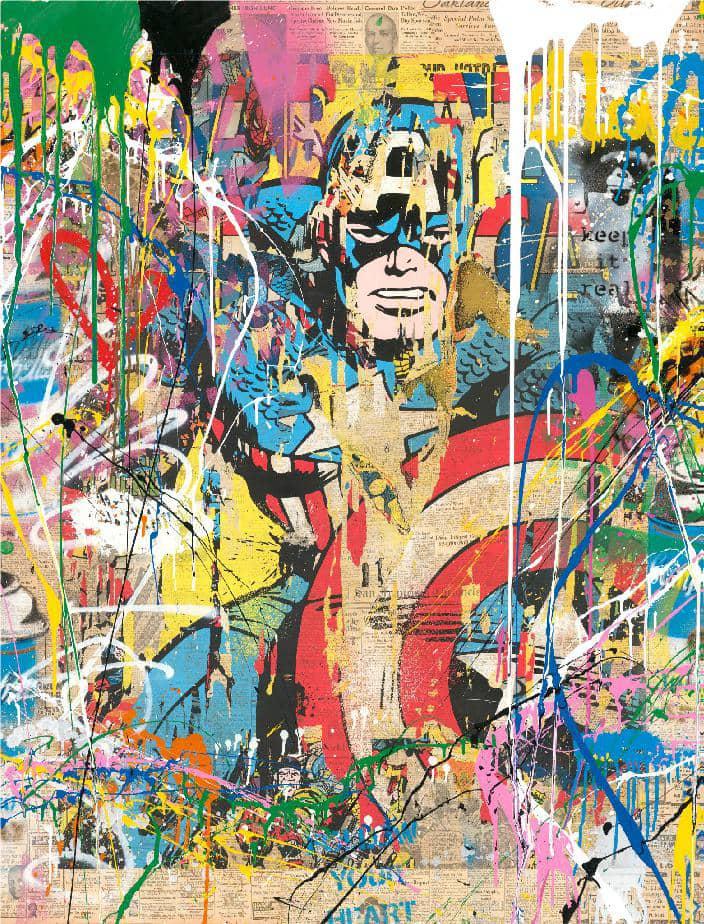 Mr Brainwash Captain America Silkscreen and Mixed Media on Paper