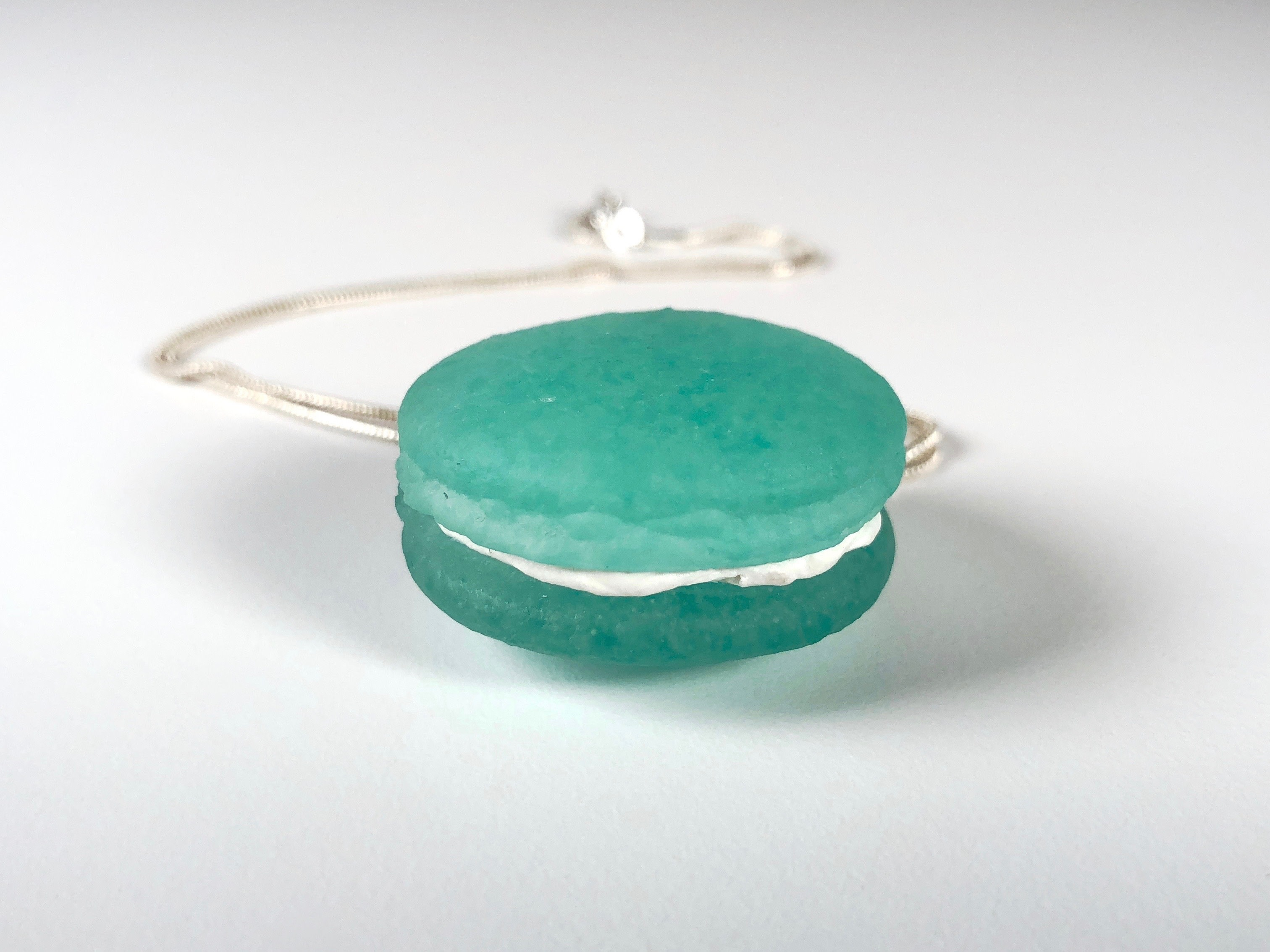 Meredith Edmondson, Turquoise Macaron Necklace, kilnformed glass, sterling silver chain