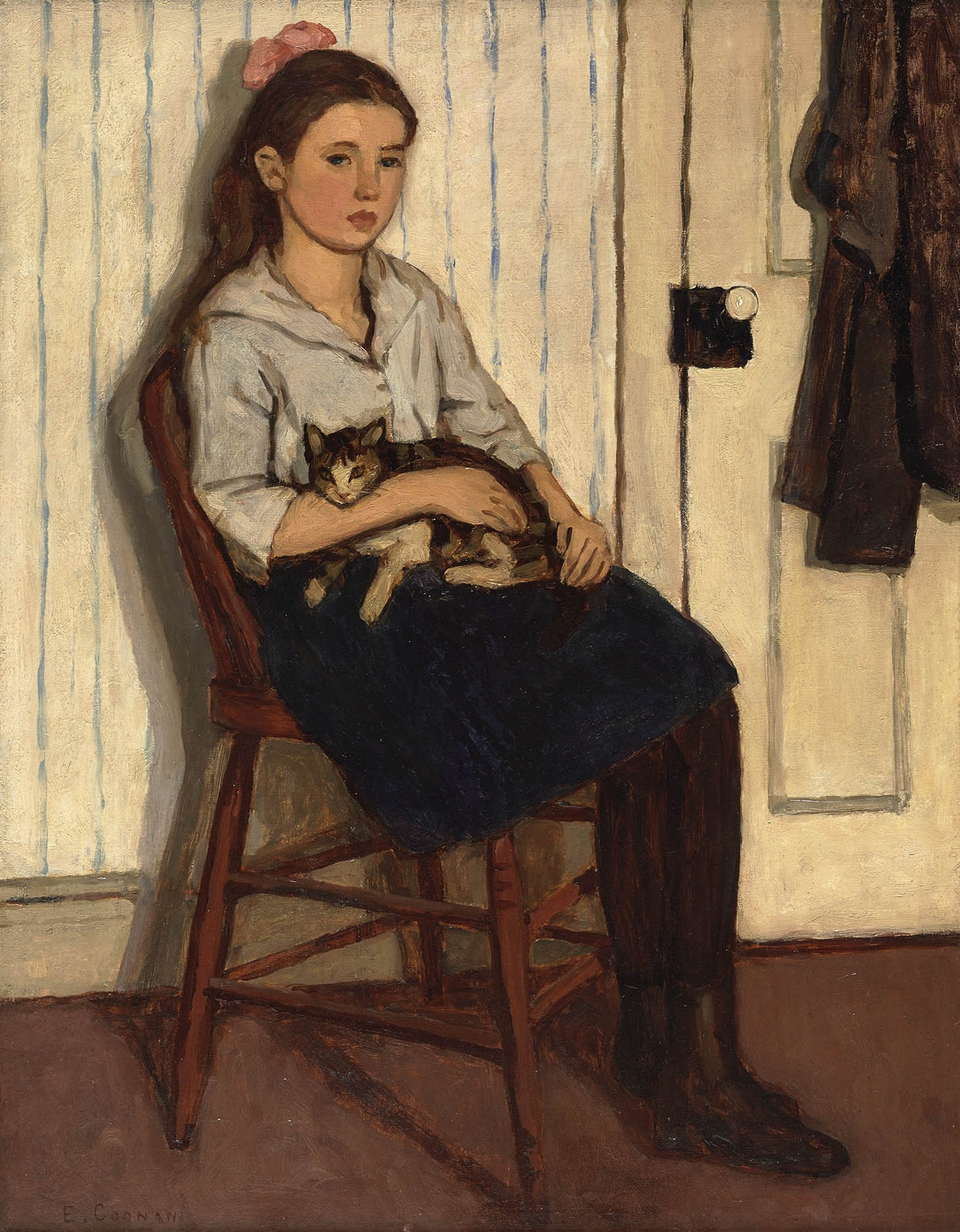Emily Coonan, Girl and Cat, 1920 Oil on canvas, 28 x 22 in (71.1 x 55.9) Previously sold by Alan Klinkhoff Gallery, purchased in 2014 by the National Gallery of Canada, 46231