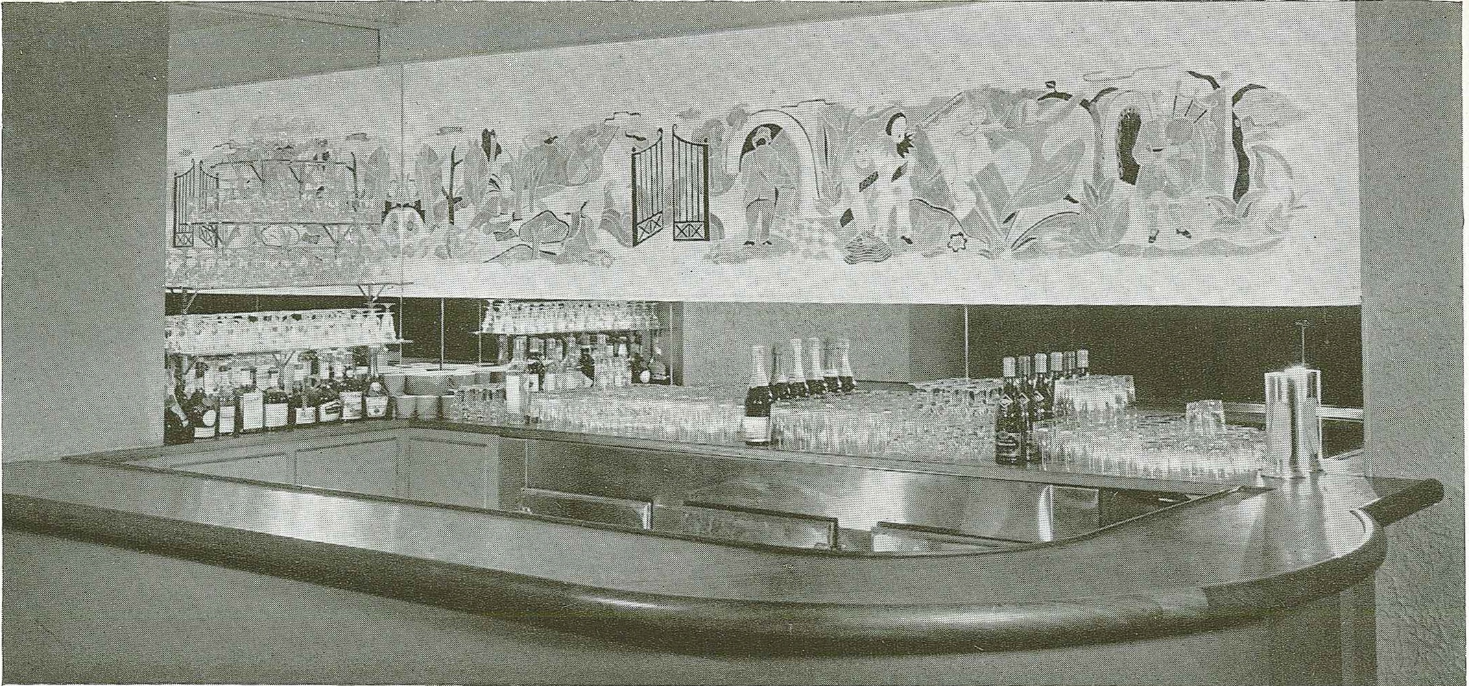 Brandtner's Mural above the bar in the Berkeley Hotel, Charles Geoffrey Holme, ed., Decorative Art: The Studio Yearbook, 1942, p. 78, courtesy of Soren Schoff,  LSA - Public Services, Kohler Art Library, University of Wisconsin - Madison, Madison, Wisconsin, USA