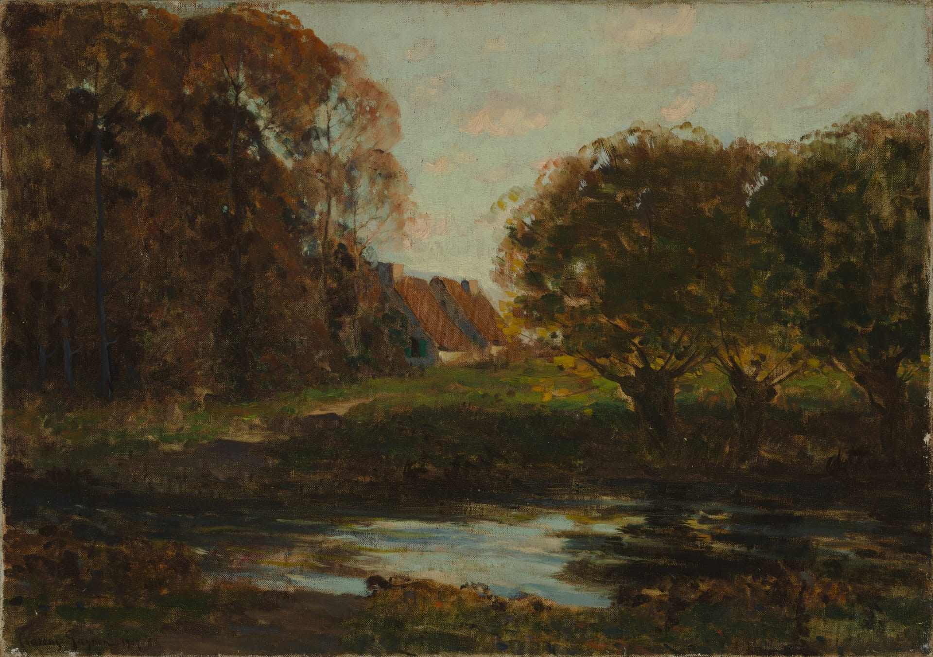 Clarence A. Gagnon, R.C.A. 1881-1942, Scène d'automne / Autumn scene, 1907, Oil on canvas, 46 x 65.4 cm (18 x 25 ¾ in), Collection of the Musée national des beaux-arts du Québec, Inventory No. 1949.85.