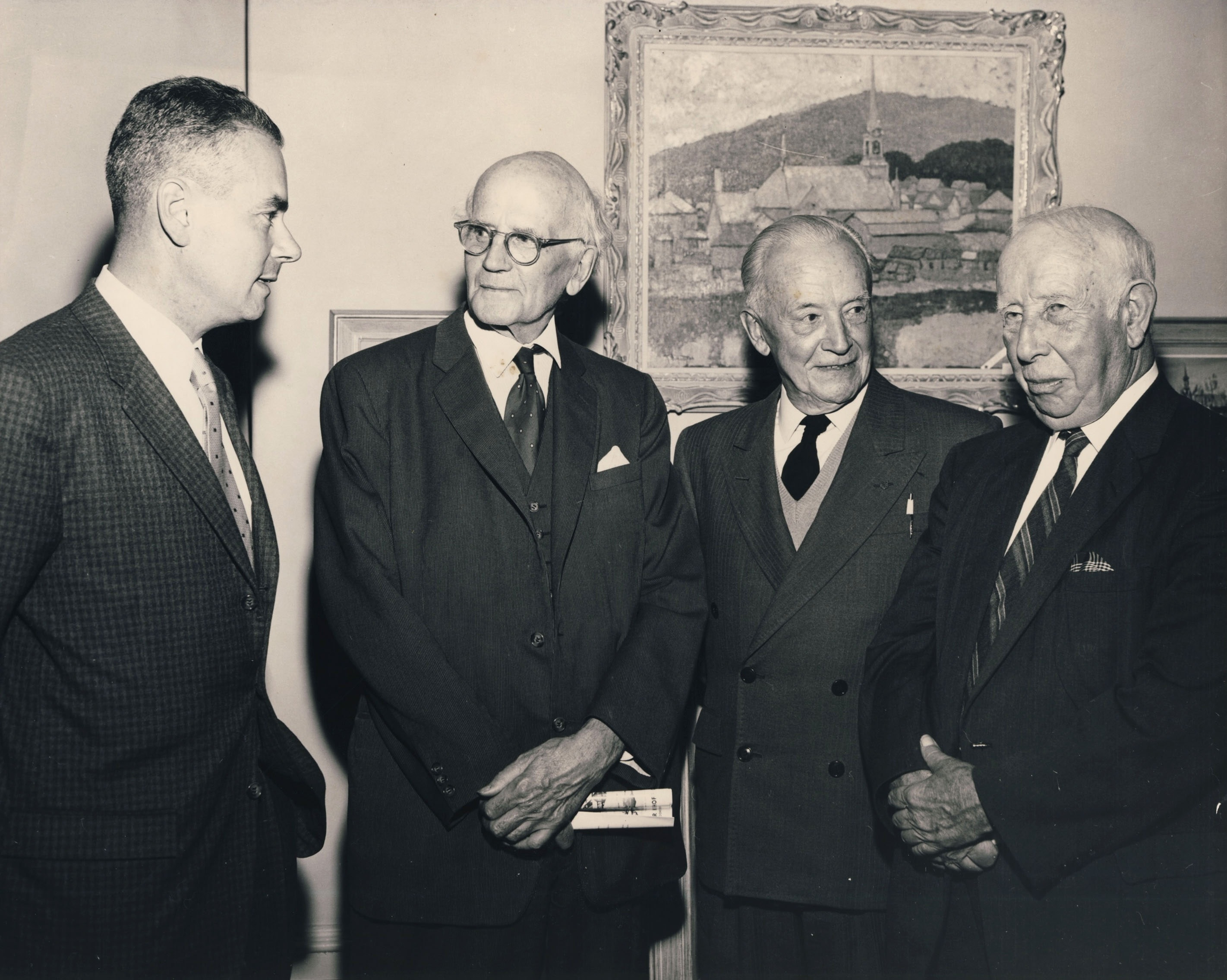 Walter Klinkhoff, Arthur Lismer, Edwin Holgate, and A.Y. Jackson at the Randolph Hewton Retrospective at Walter Klinkhoff Gallery in October 1962