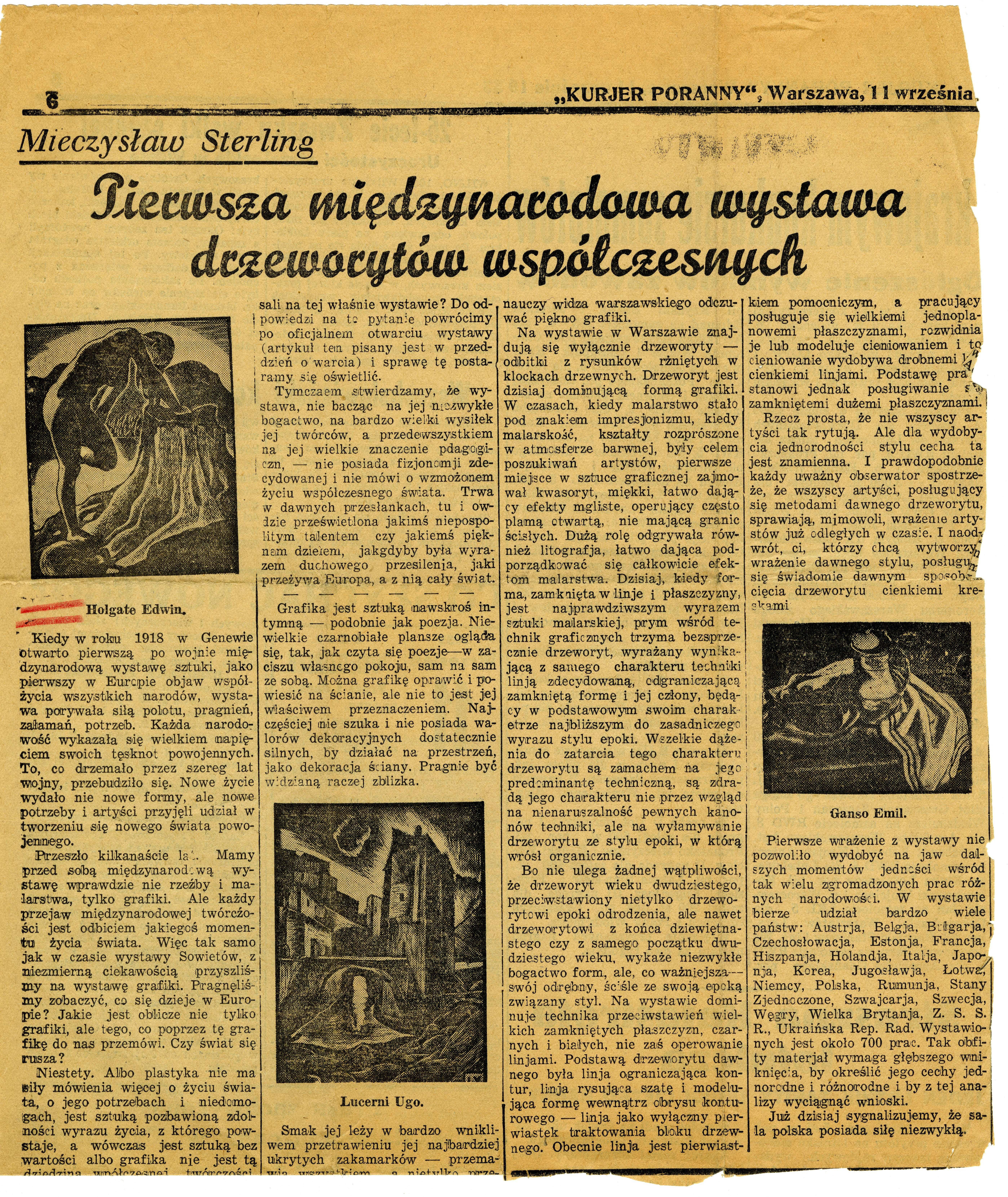 Clipping of Mieczysław Sterling's