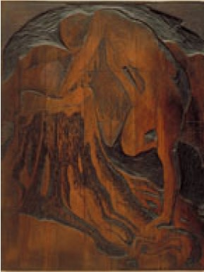 Wood block for Nude by a Lake, ​Montreal Museum of Fine Arts​, Inventory No. GR.1972.68b