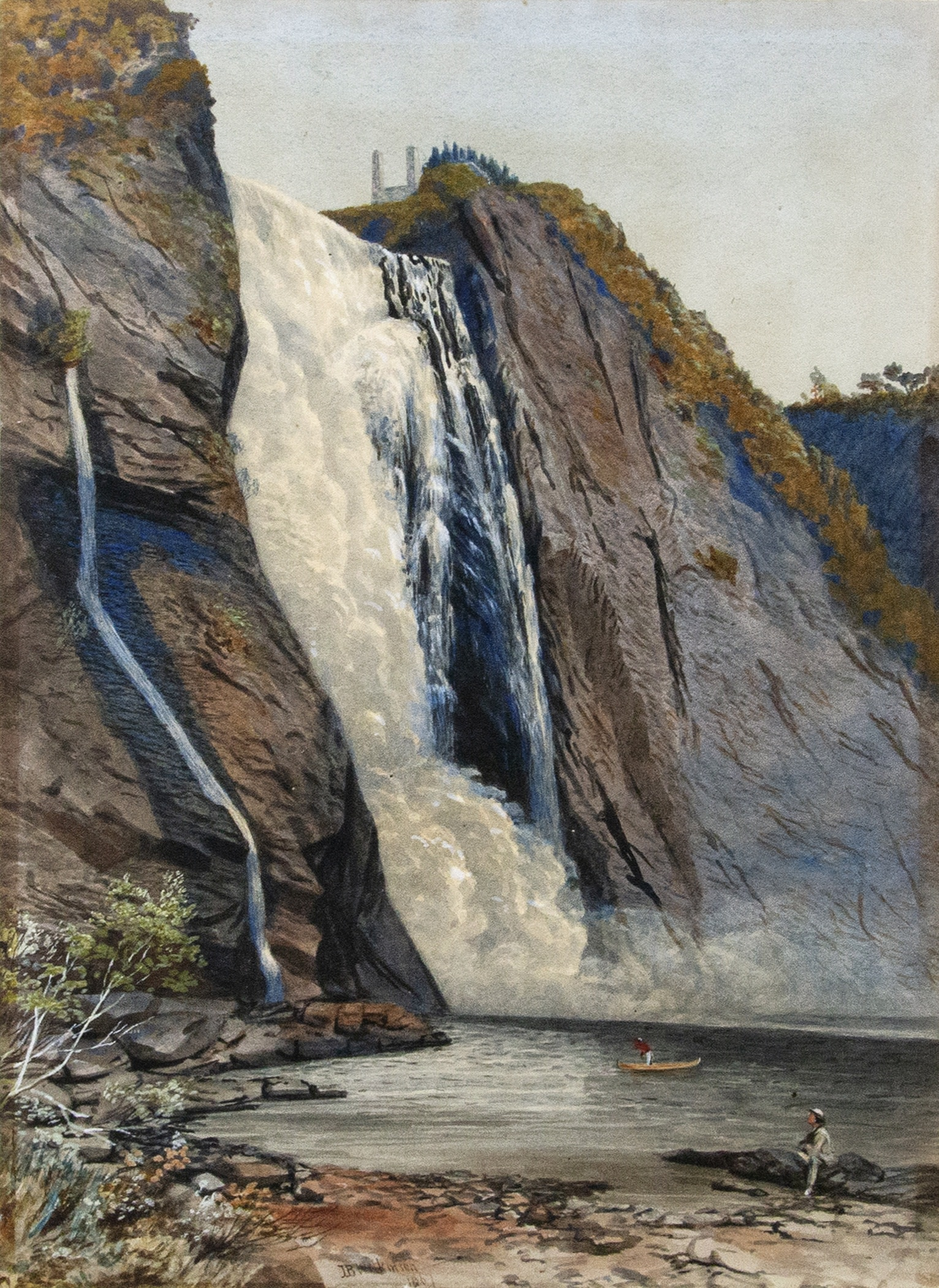 John B. Wilkinson (active 1864 to 1915) Montmorency Falls (Chutes Montmorency), 1867 Watercolour on paper, 16 x 11 ½ in