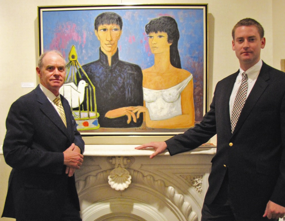 Alan (left) and Jonathan Klinkhoff with Beaulieu's 1956 painting
