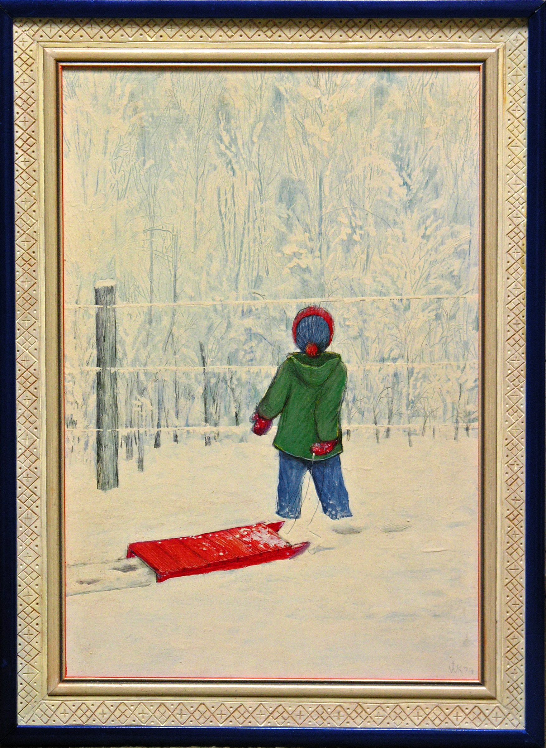 William Kurelek (1927-1977) | Child with red sleigh | oil on masonite 17.3/4 x 12 in.