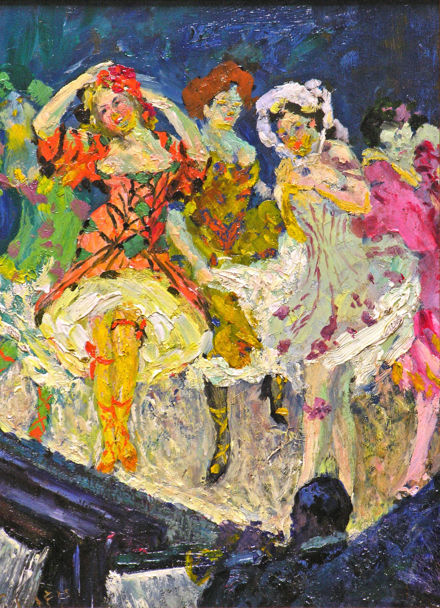 William H. Clapp | Danseuses de cancan, Paris, vers 1910 | huile 9.3/4 x 7.1/4 po.