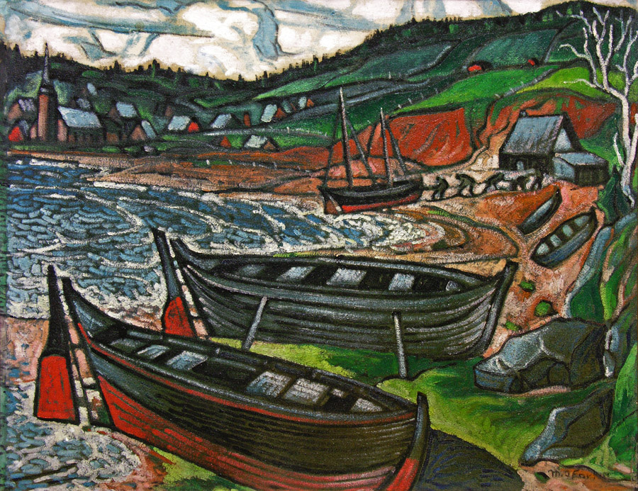 M.A. Fortin, ARCA (1888-1970) | Gaspe Landscape with Small Fishing Boats, c. 1940 | Oil on canvas 28.1/4 x 36.1/4 in.