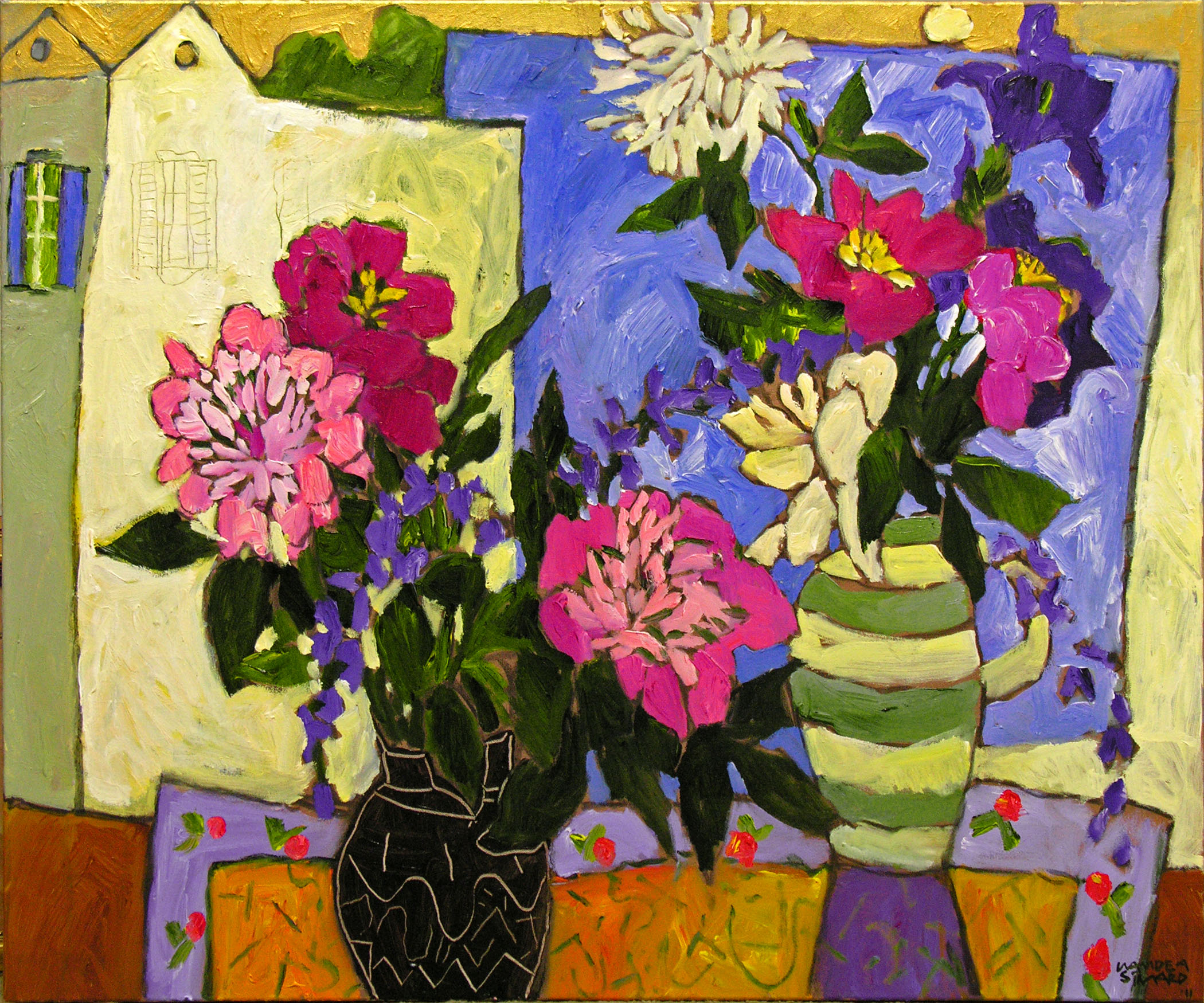 Claude A. Simard, RCA | Peonies in June | Acrylic on canvas 30 x 36 inches